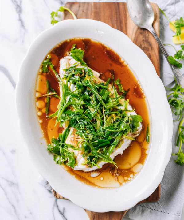 Cantonese Steamed Fish with Ginger, Scallions, and Cilantro