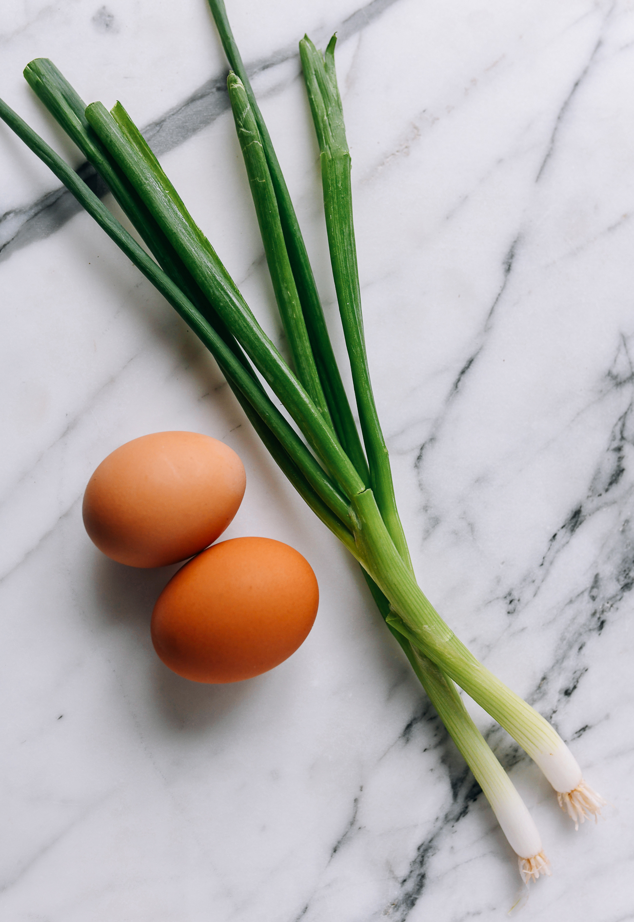 Two eggs and two scallions