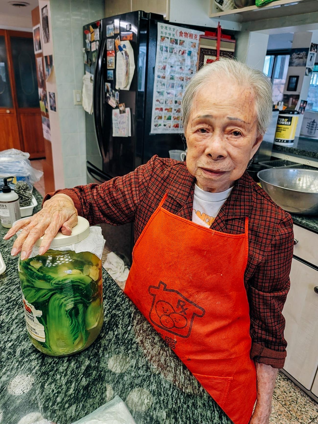 Bill's grandma with her homemade ham choy