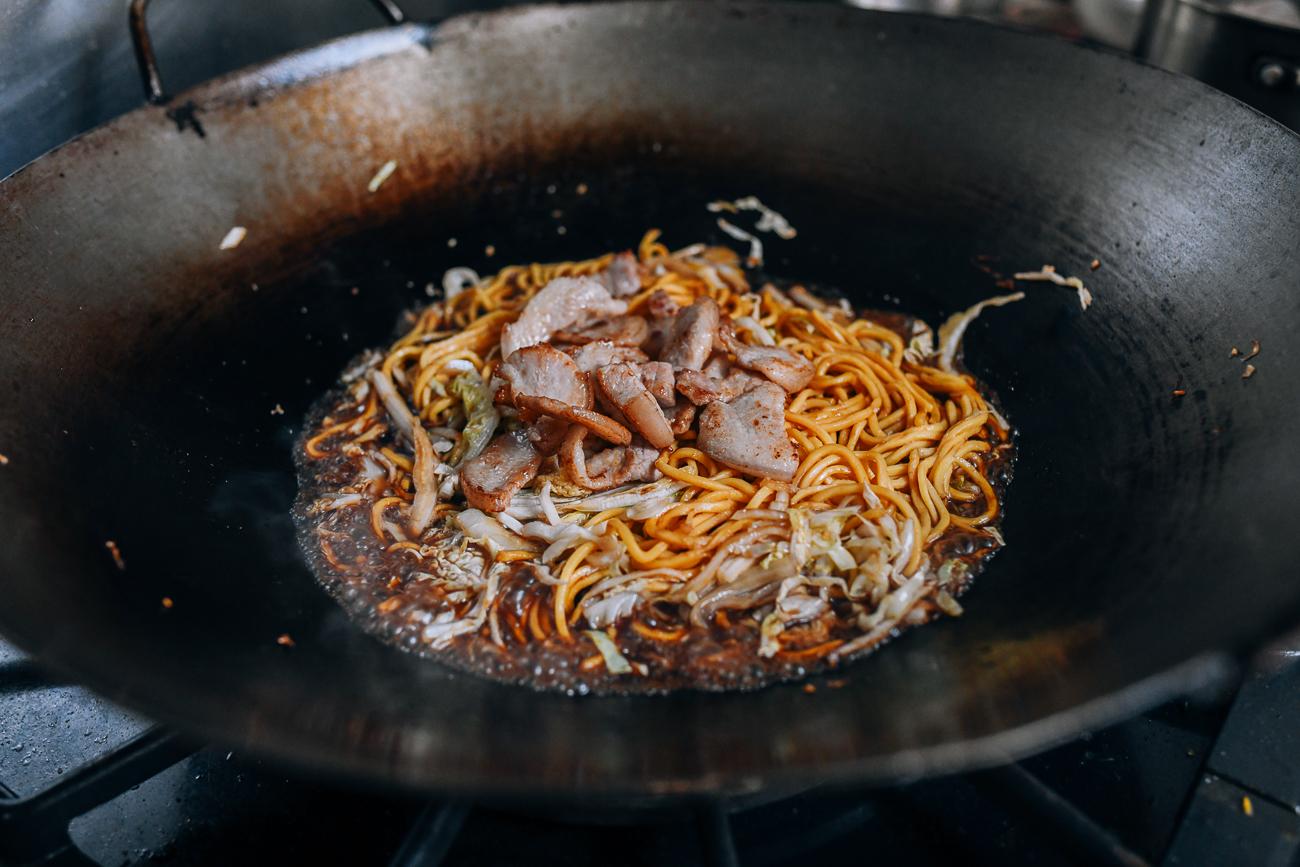 Adding pork belly back to wok