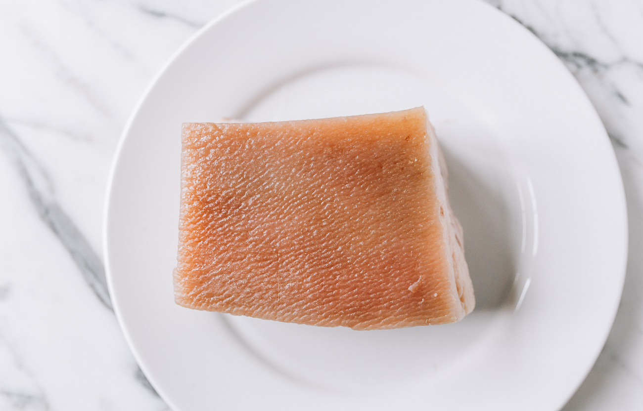 Blanched pork belly on plate