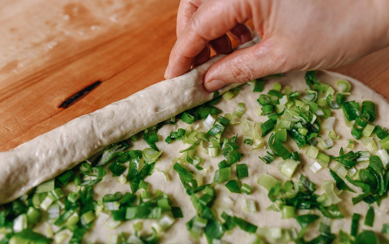 Rolling dough into a log