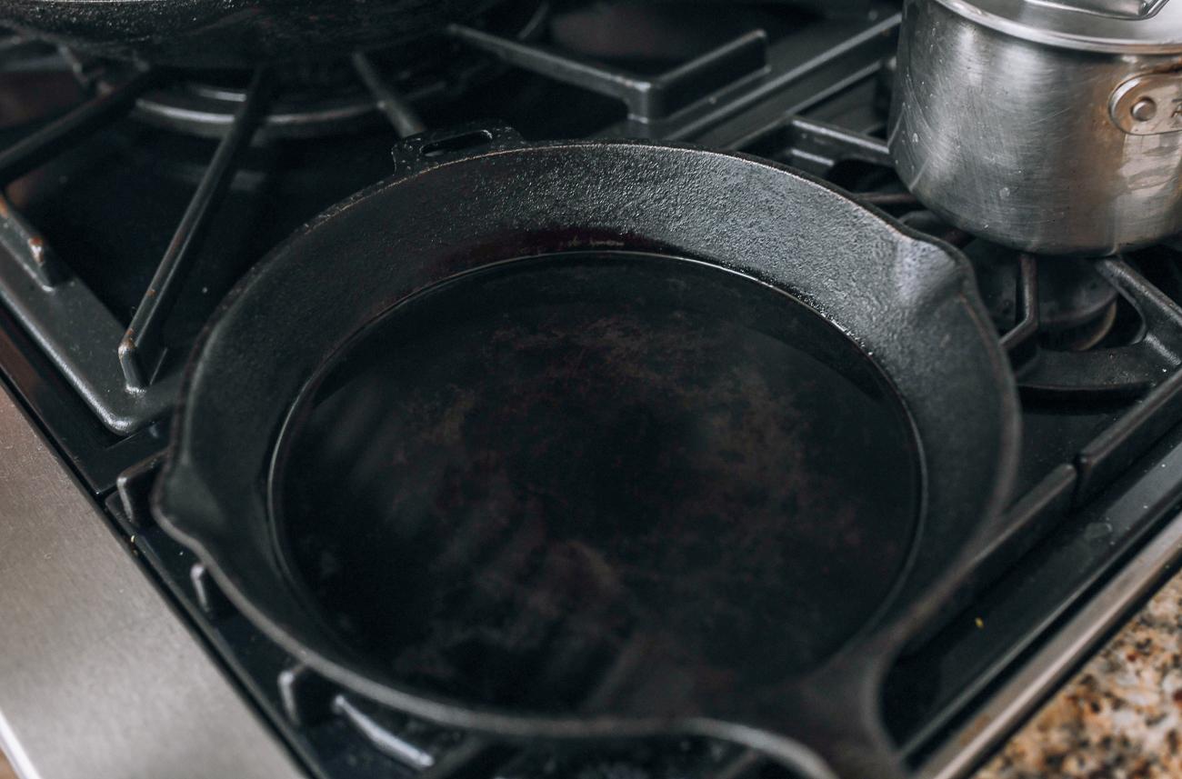 Oiled cast iron pan