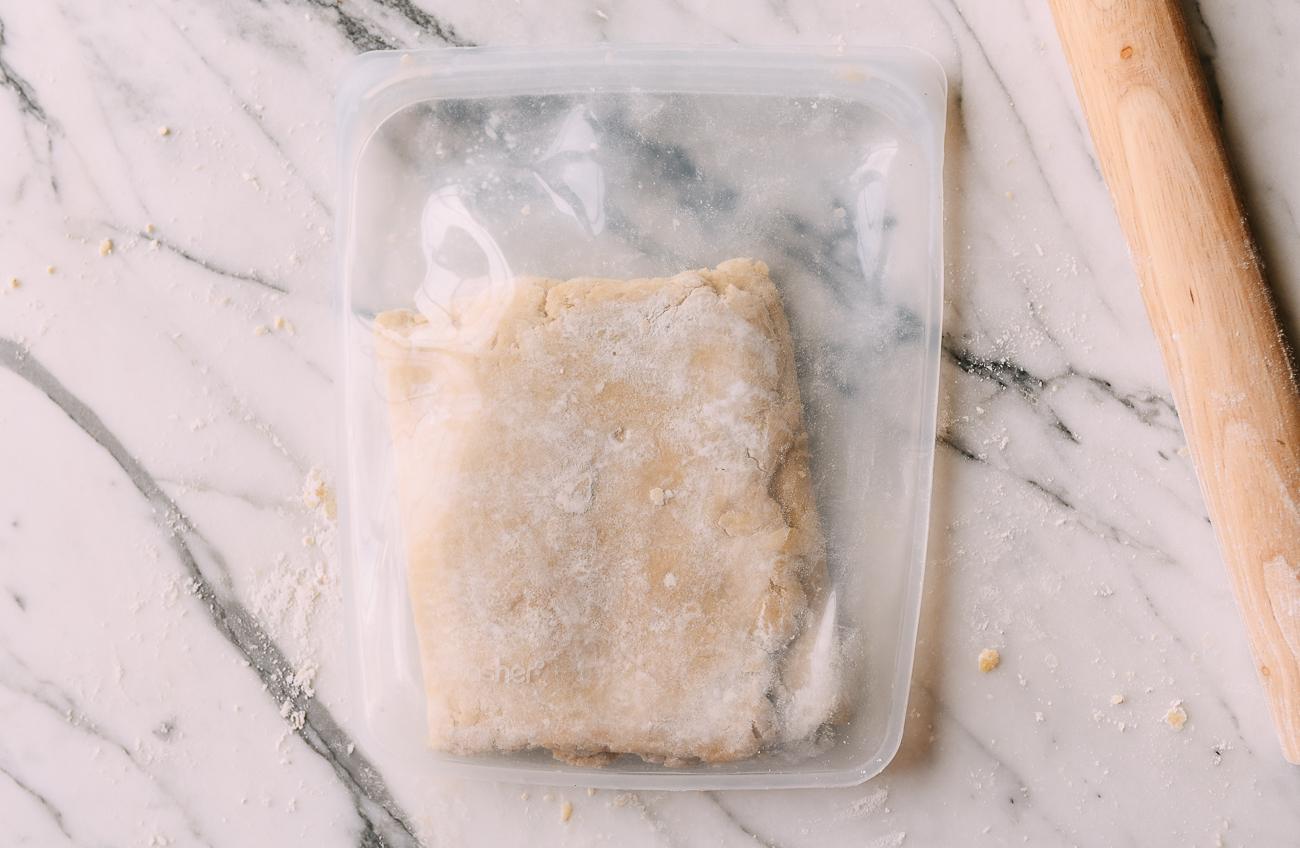Laminated dough in reusable silicone bag