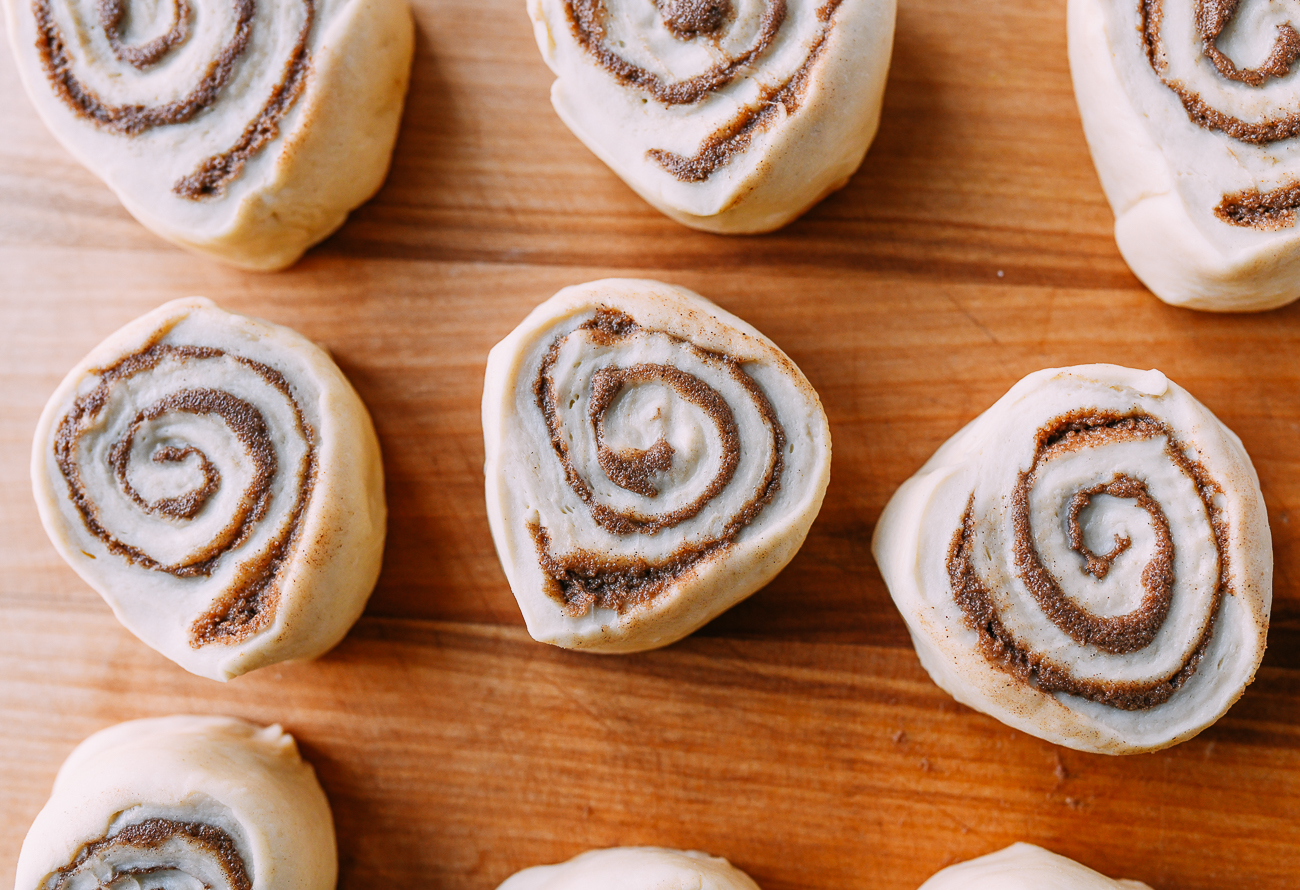 Cut cinnamon rolls