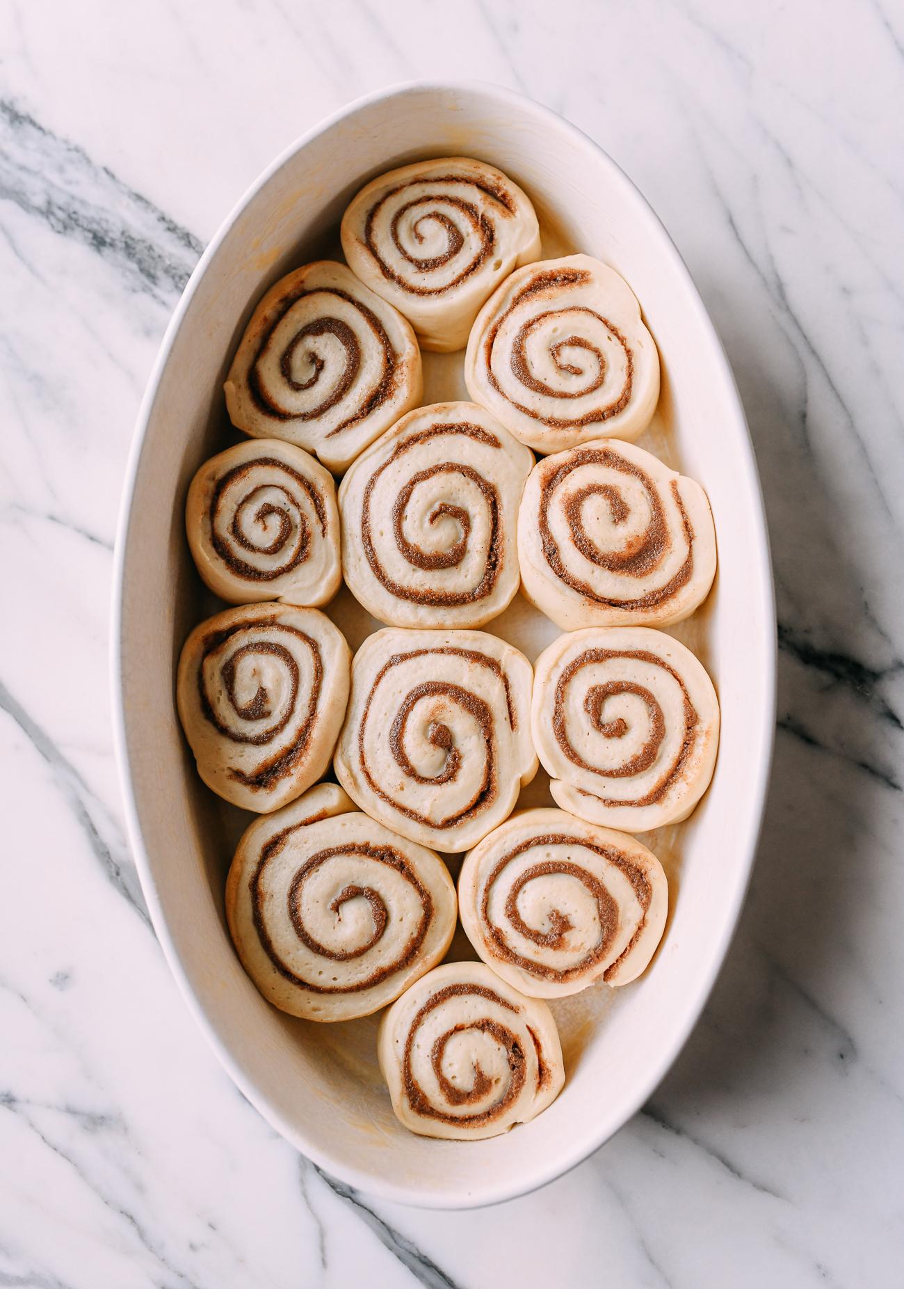 Proofed cinnamon rolls