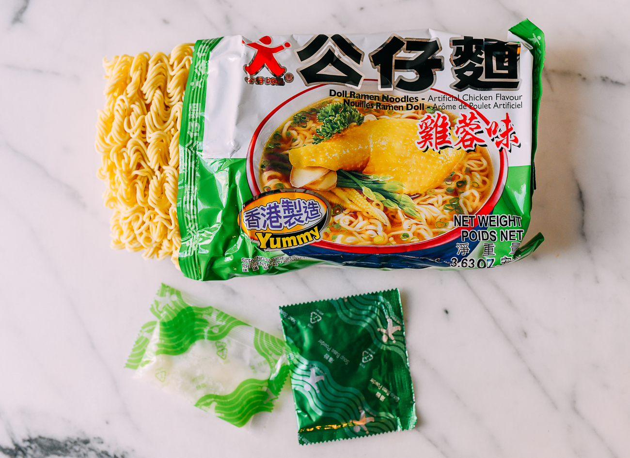 Gong Zai Mein Doll Brand Chicken Flavor Noodles Package