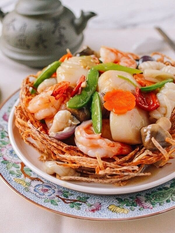 Chinese Seafood Bird Nest, by thewoksoflife.com