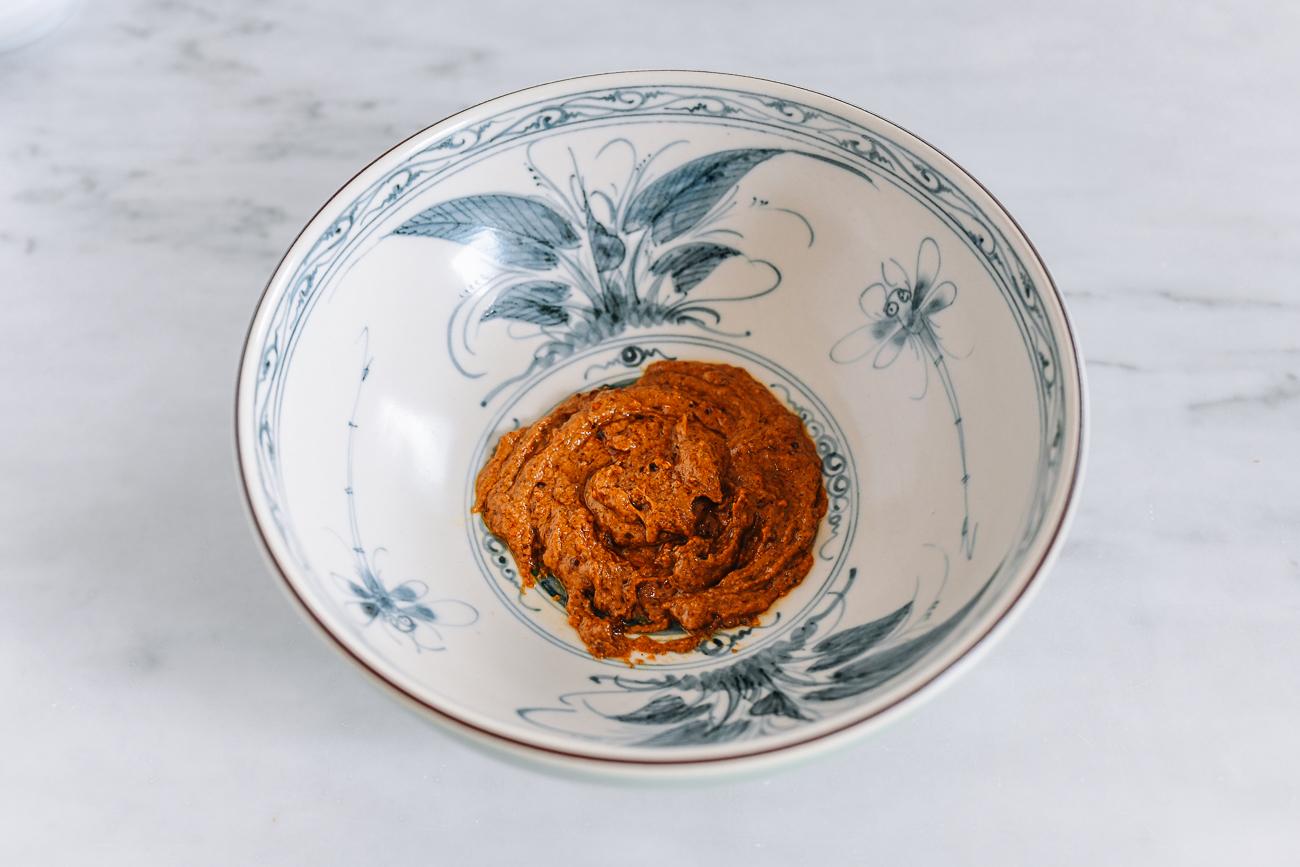 Tan Tan Tare Mixture in Soup Bowl