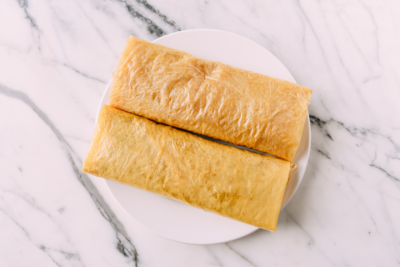 Two bean curd sheet rolls with vegetable filling