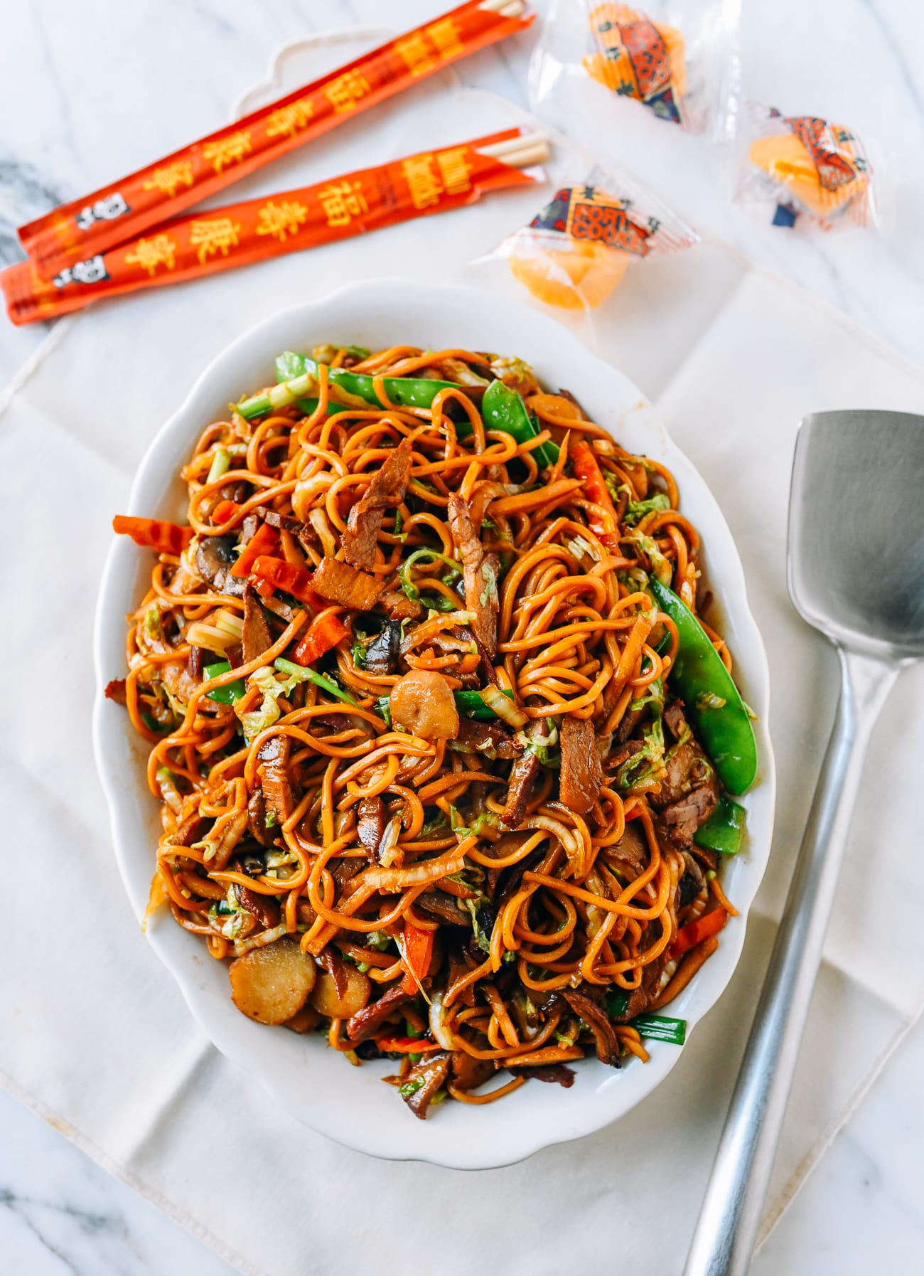 Plate of Pork Lo Mein