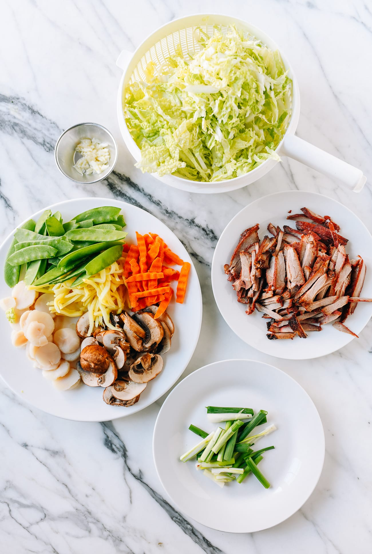 All the ingredients prepared for pork lo mein