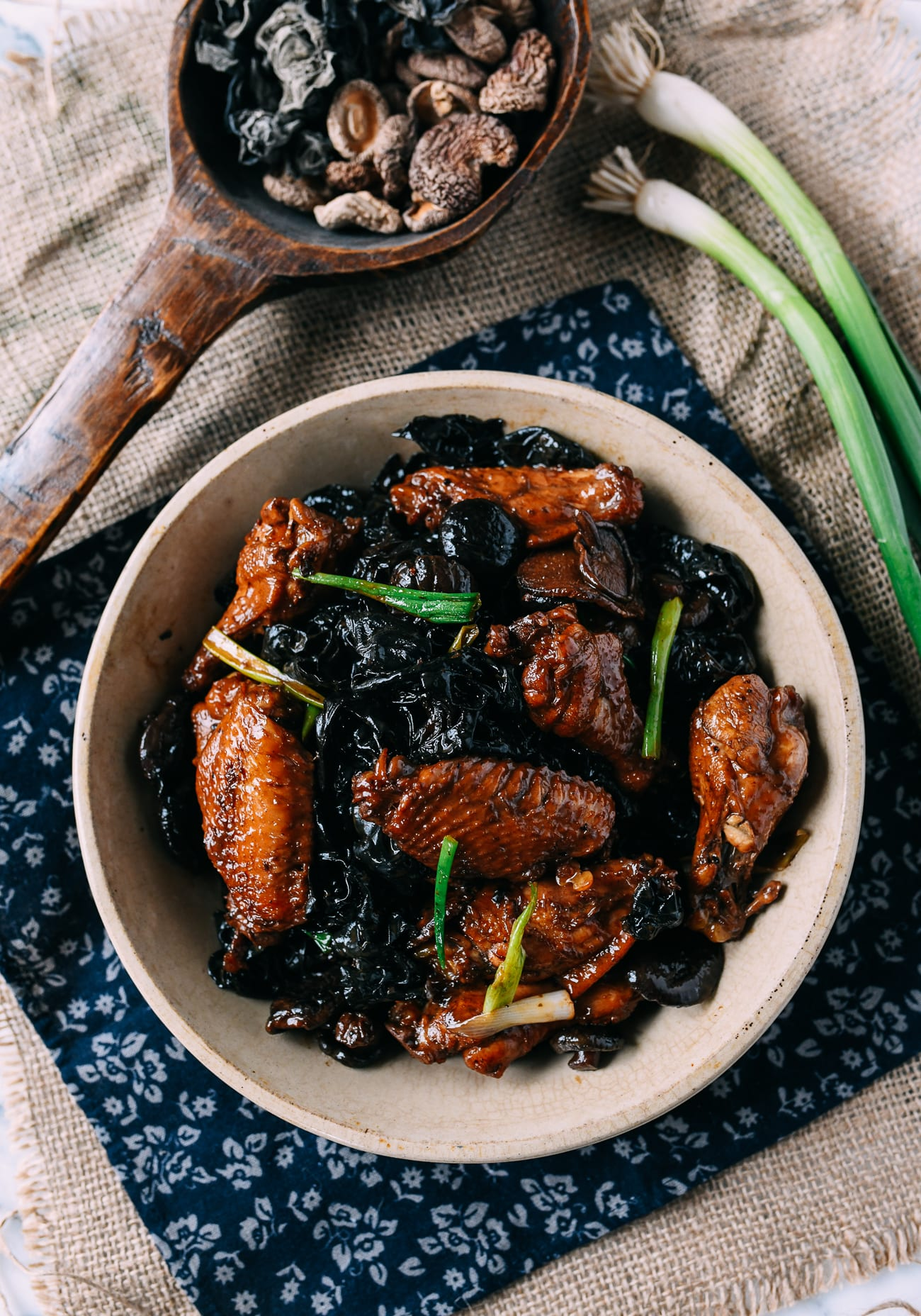 Braised Chicken and Dried Wood Ear and Shiitake Mushroom