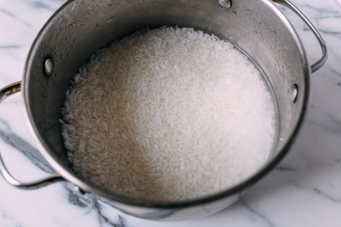 Pot with rice and water