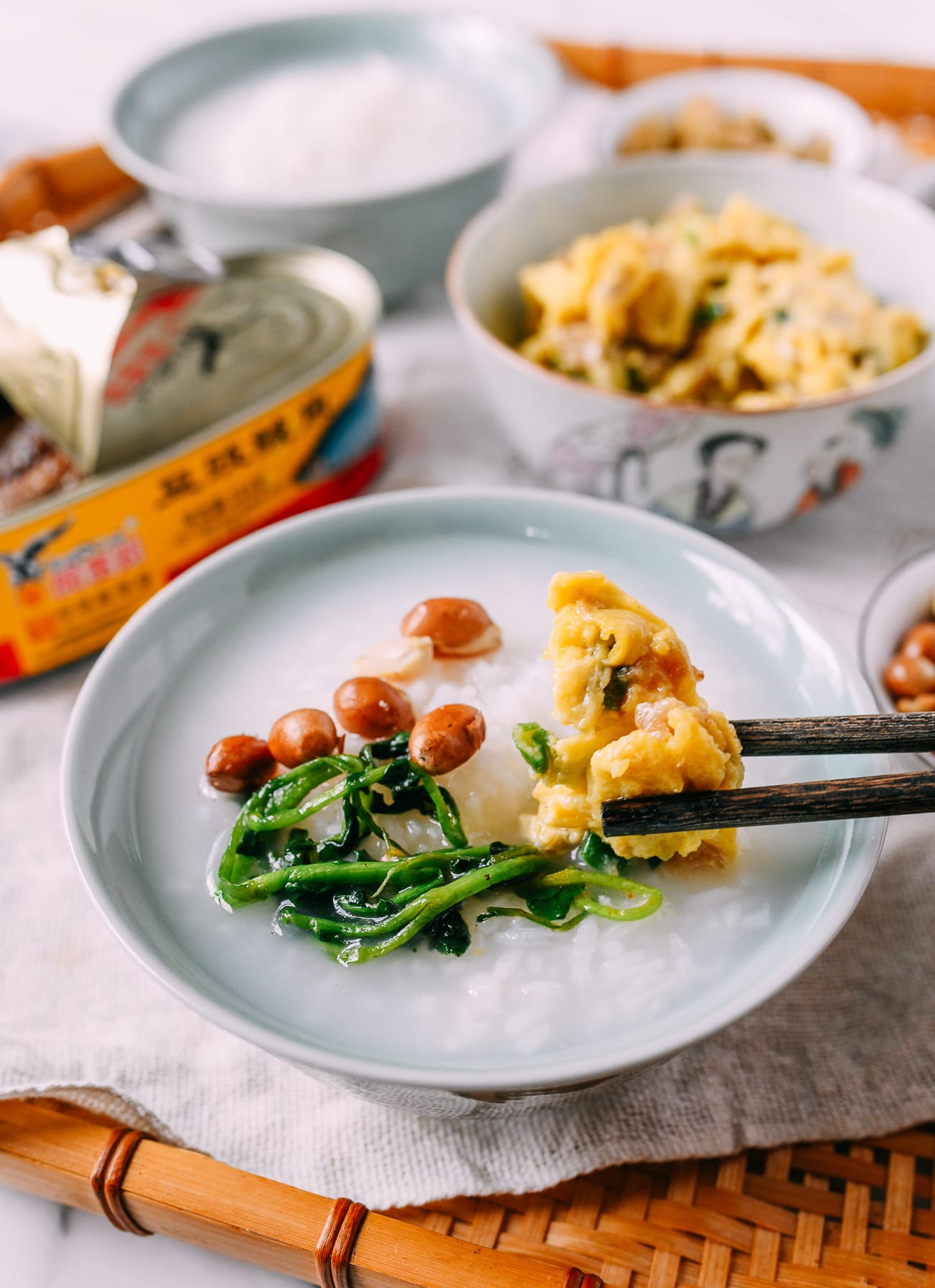 Pao fan with peanuts, eggs, and leftover greens