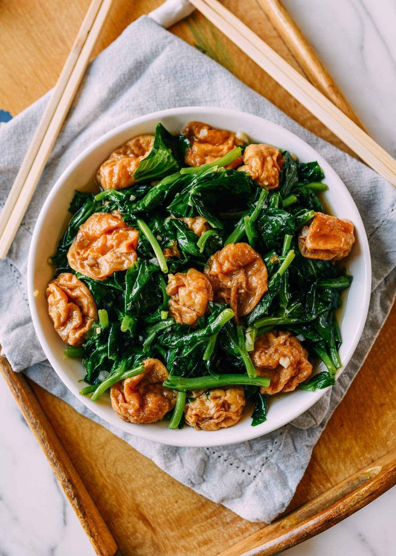 Pea Tips and Seitan Puffs Stir-fry