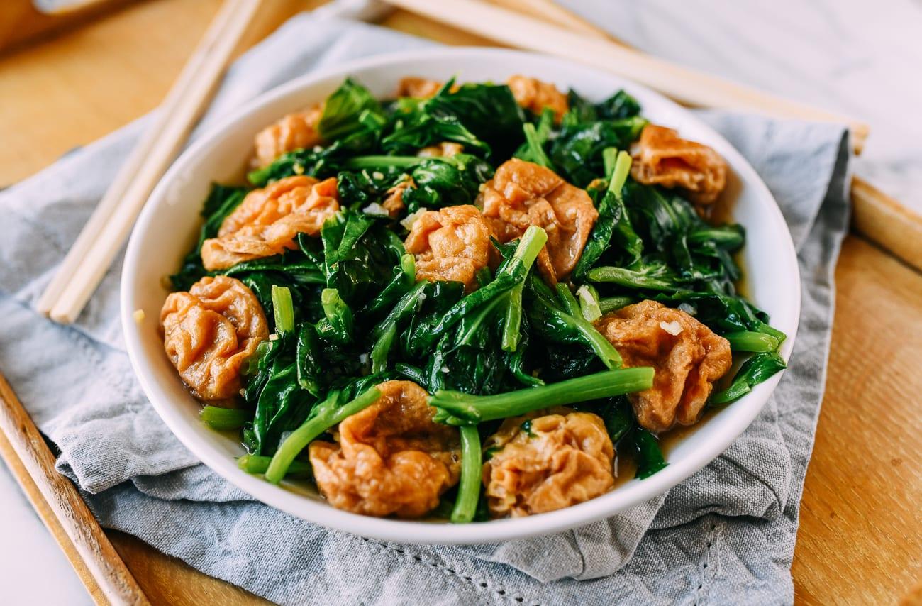 Seitan puffs with pea leaves