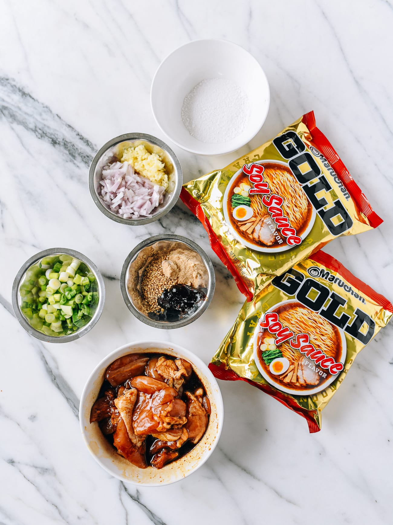 ingredients for soy garlic chicken instant ramen