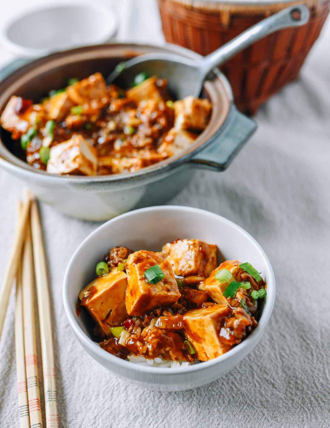 Bowl of Rice topped with garlic tofu
