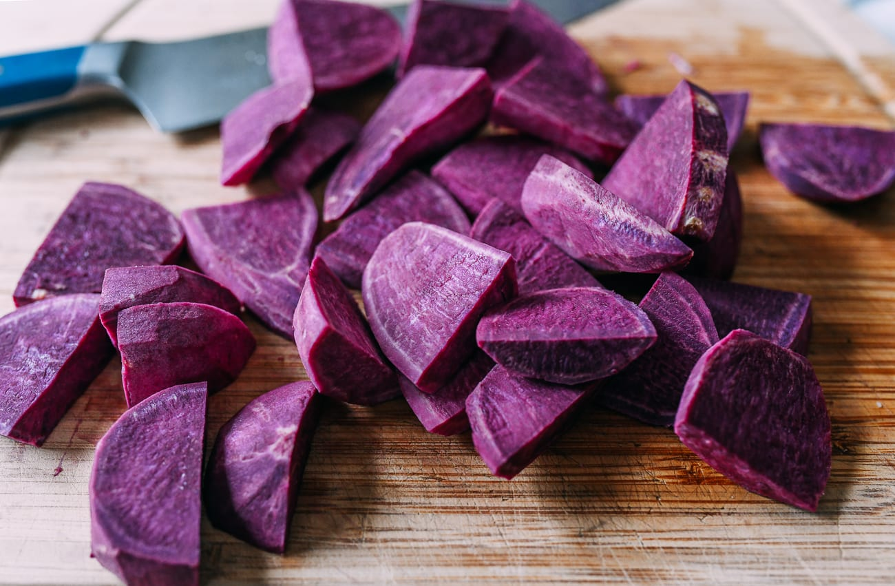 Chunks of purple yam (ube)