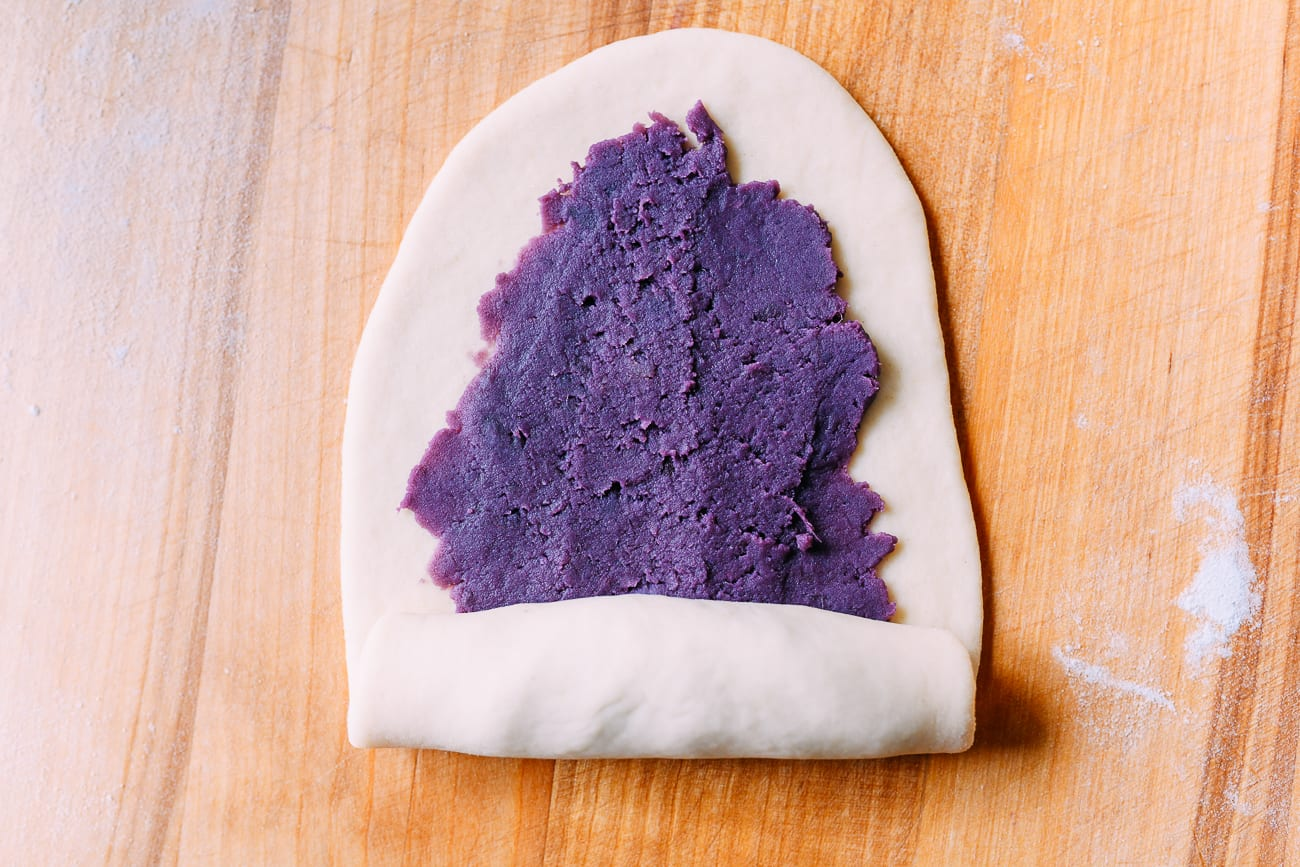 Rolling ube filling inside of dough