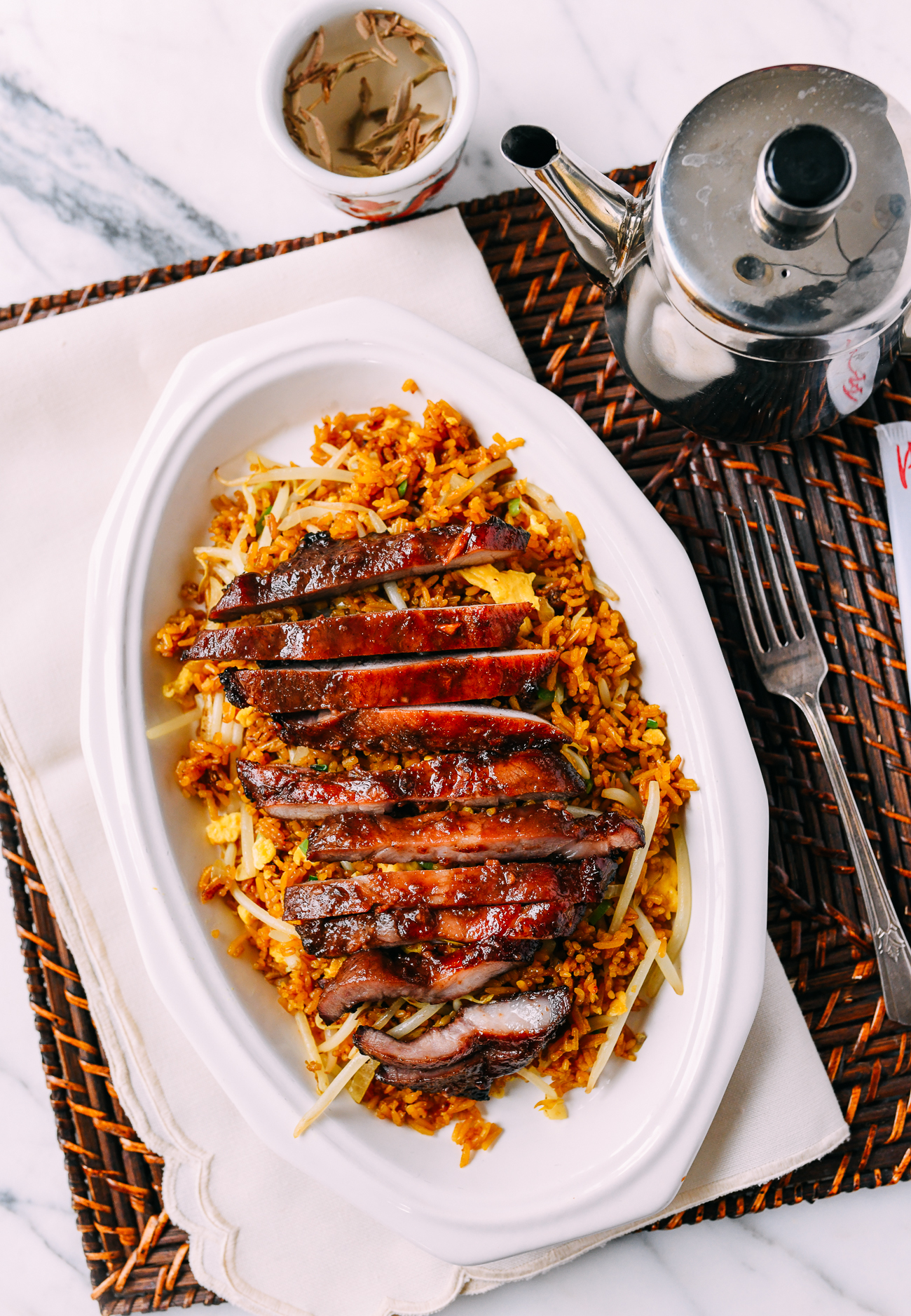 Chinese boneless ribs over fried rice