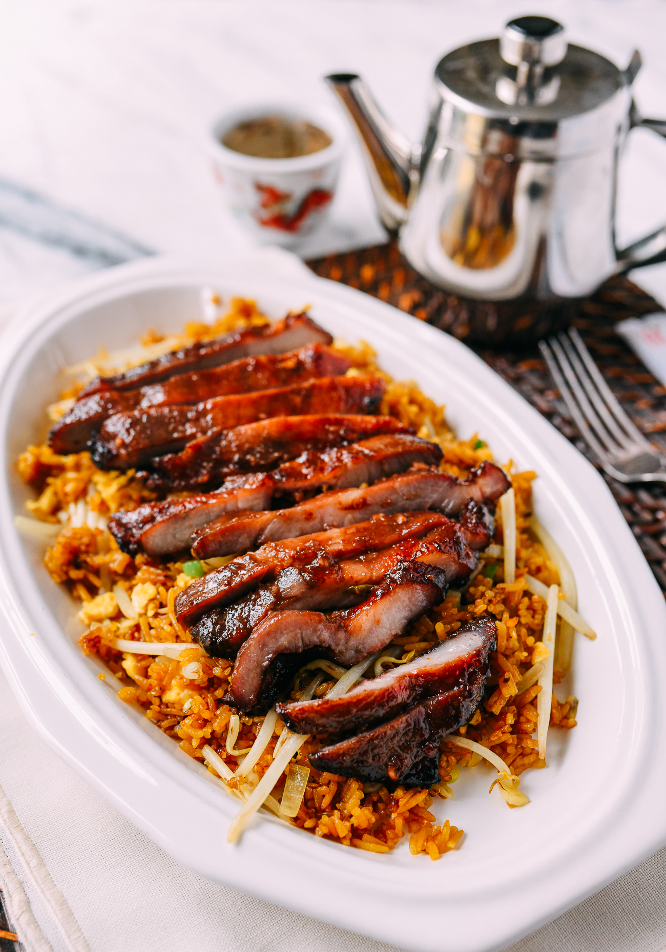 Plate of Chinese takeout boneless spare ribs with fried rice