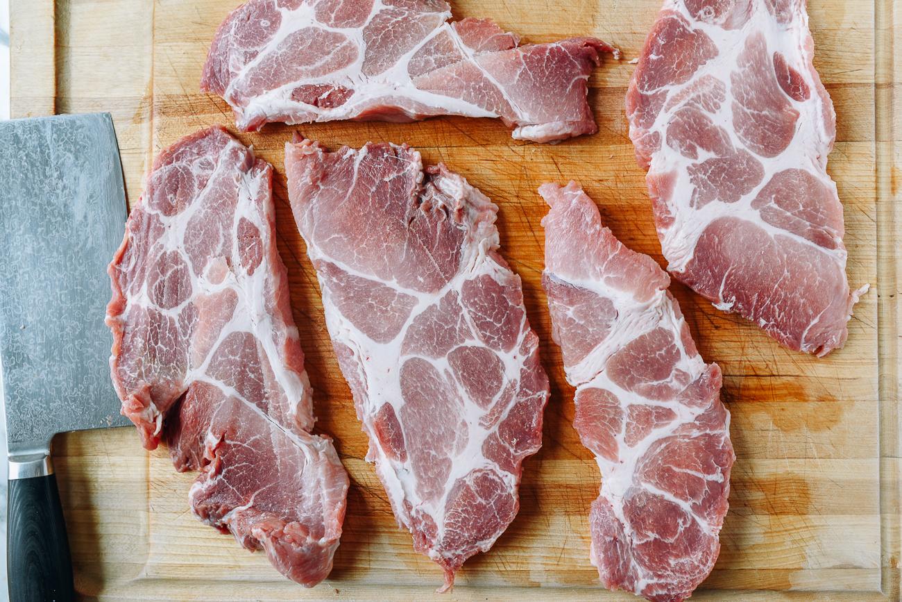 Slabs of pork butt