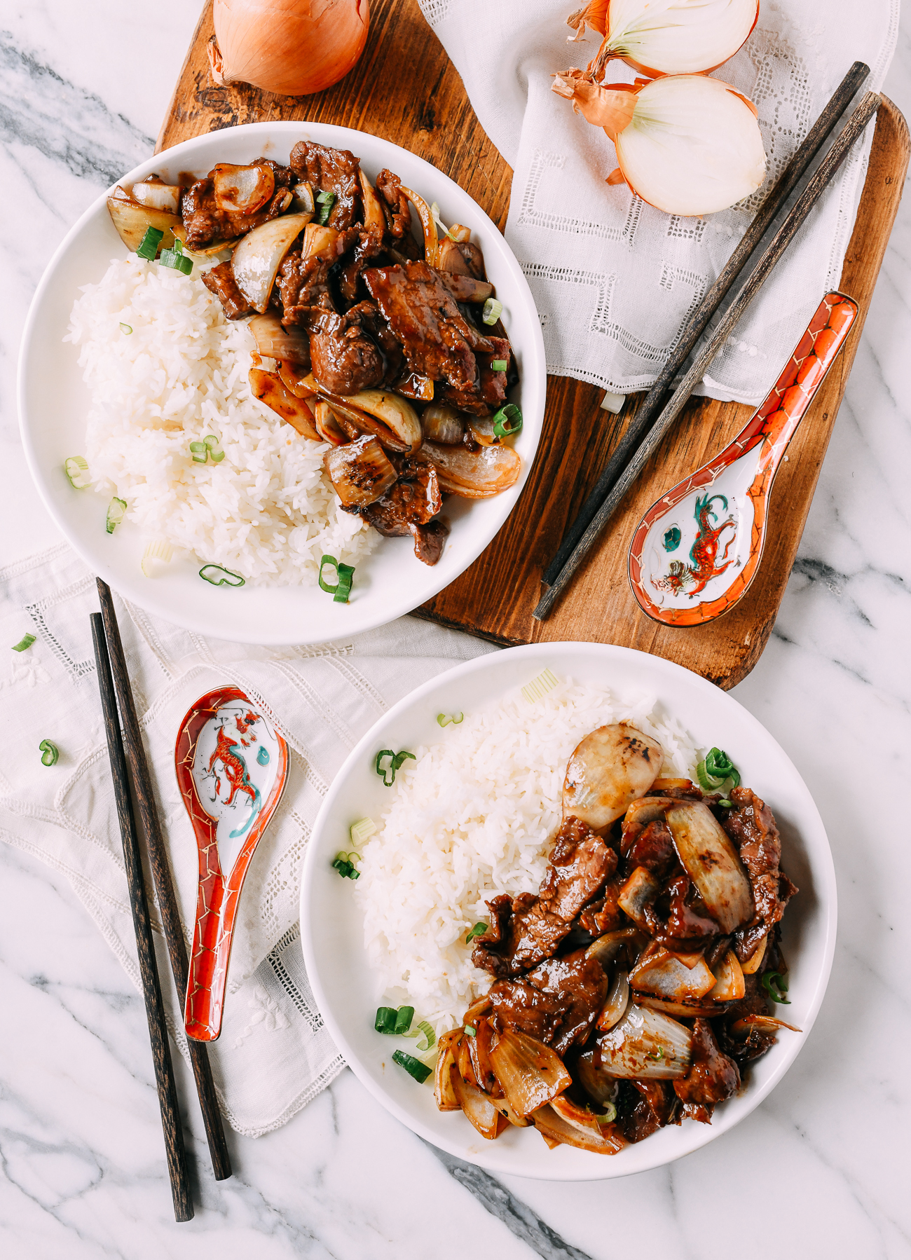 Beef Onion Stir-fry with white rice