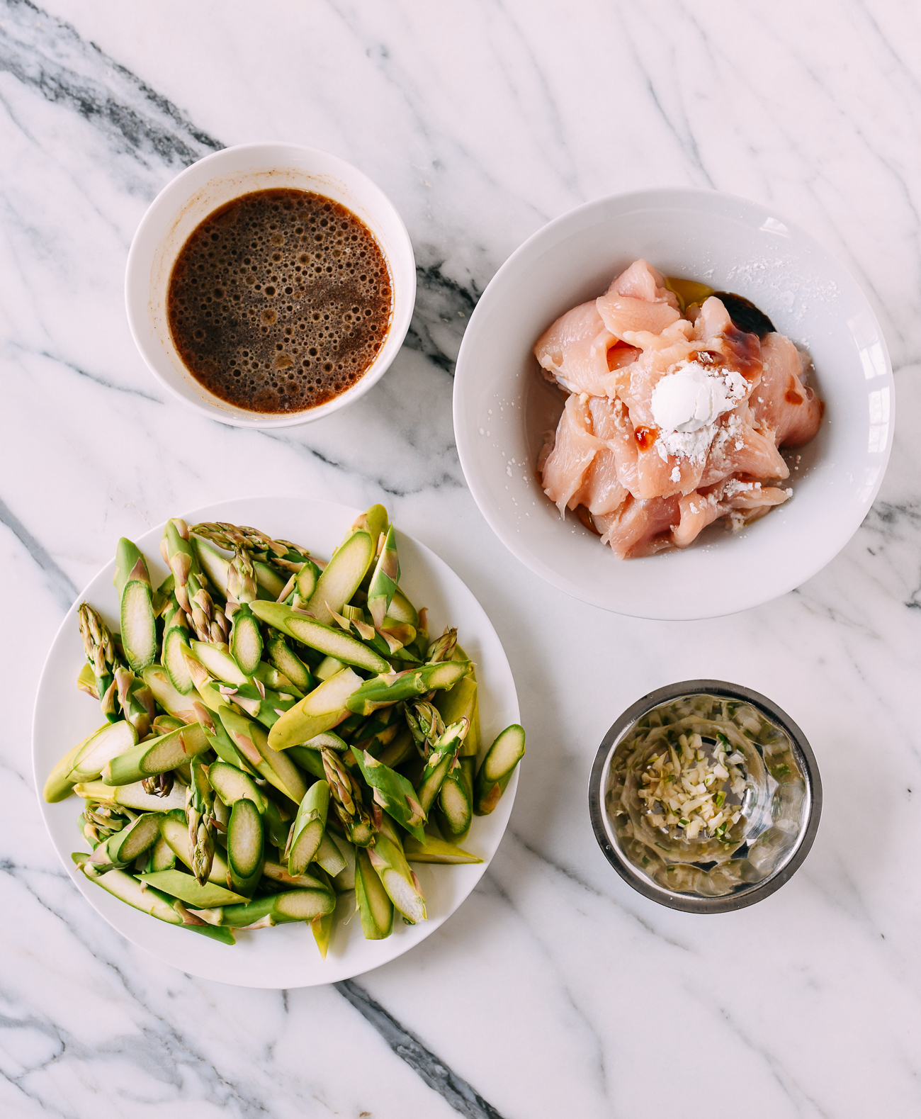 Ingredients for chicken and asparagus stir-fry