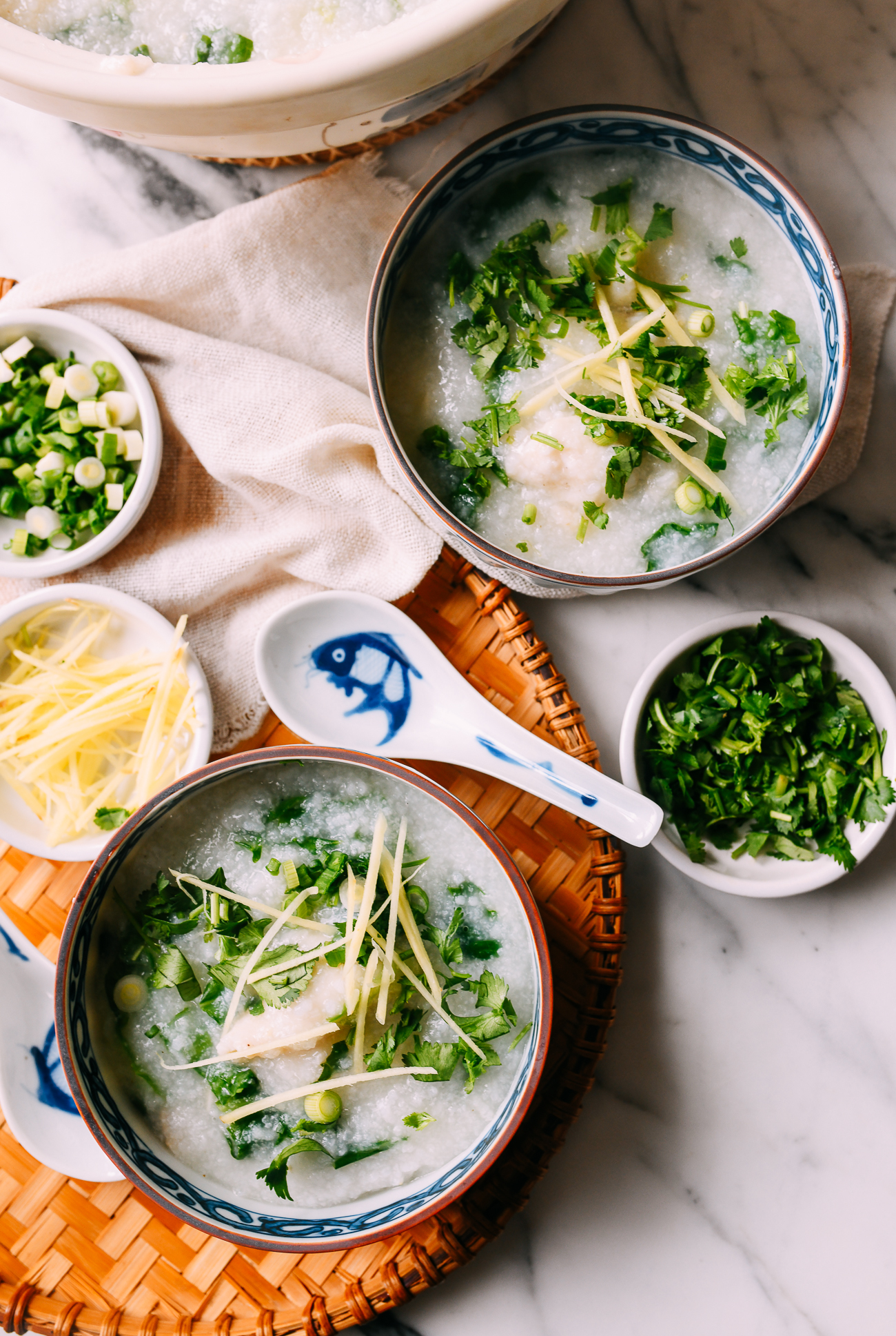 Bowls of fish congee