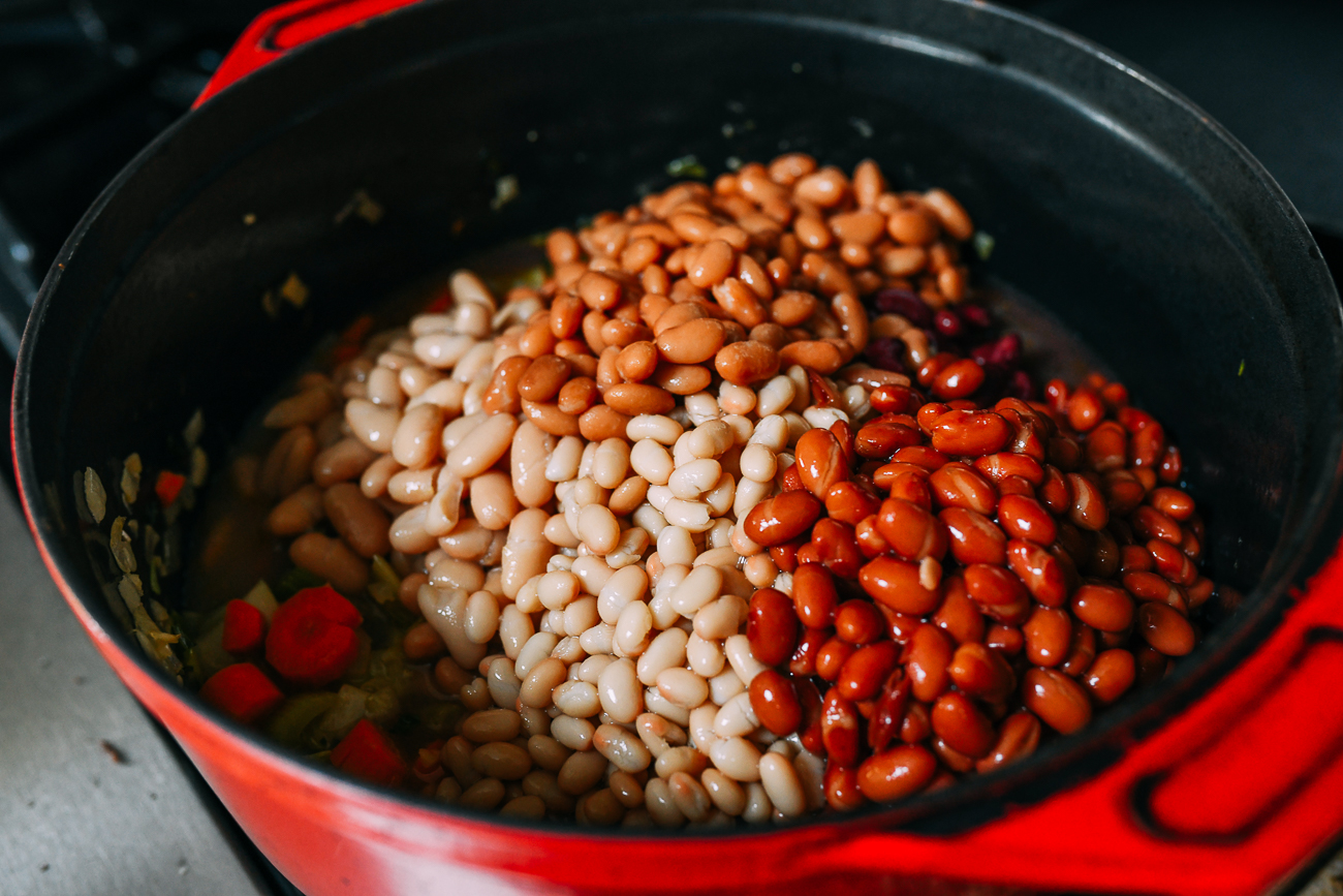 Beans added to dutch oven