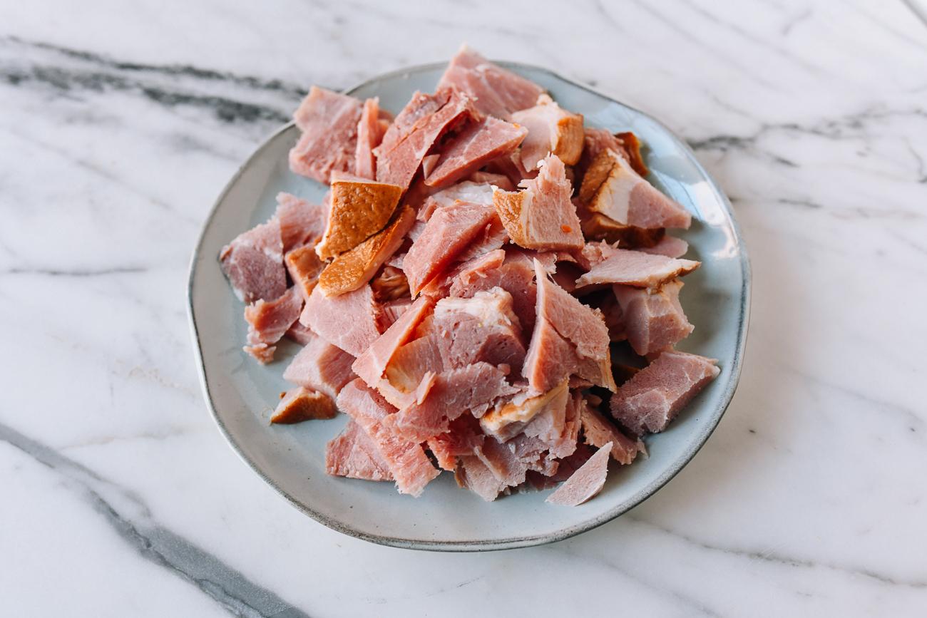 Roughly cut ham