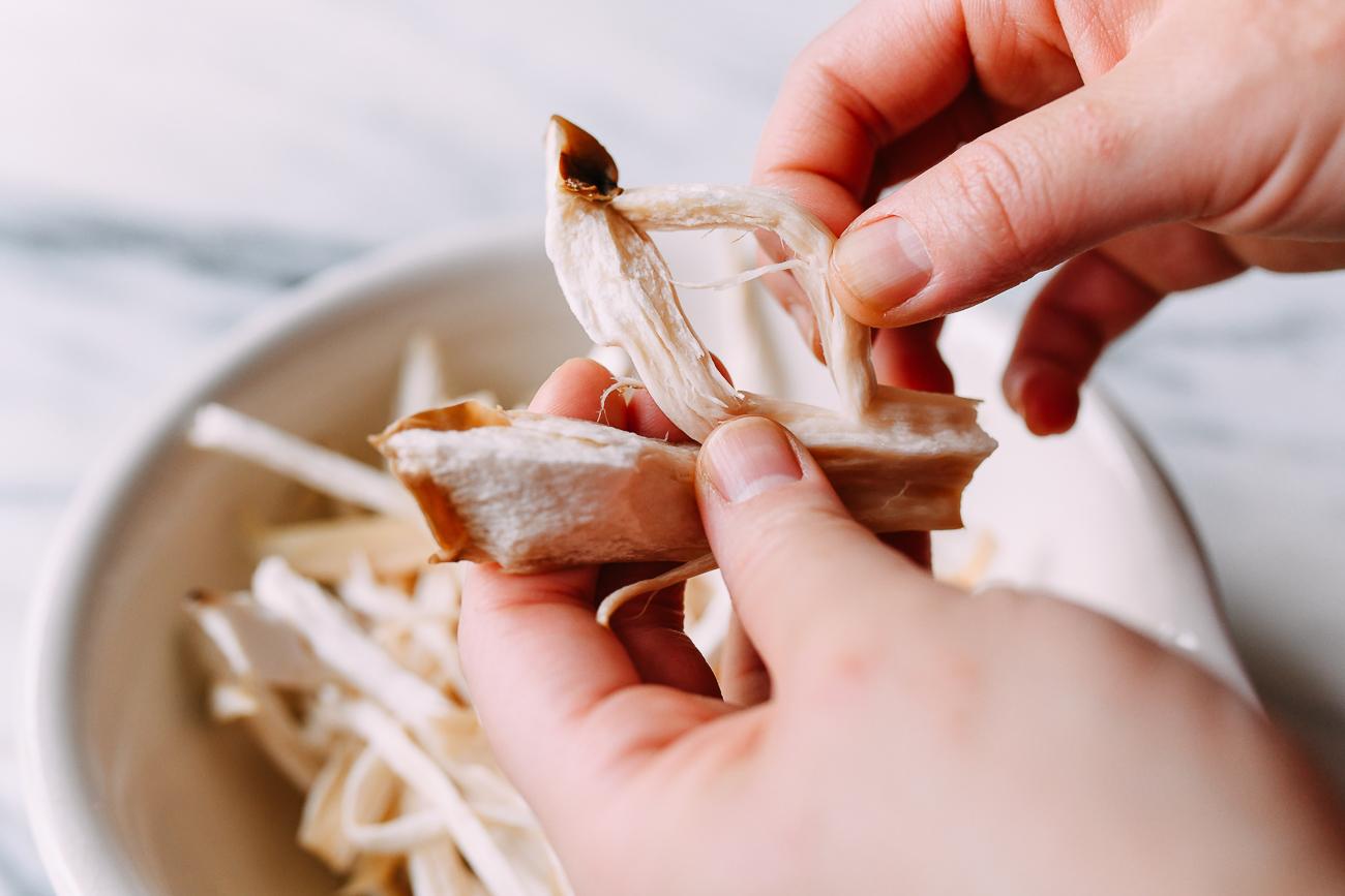 Shredding king oyster mushrooms