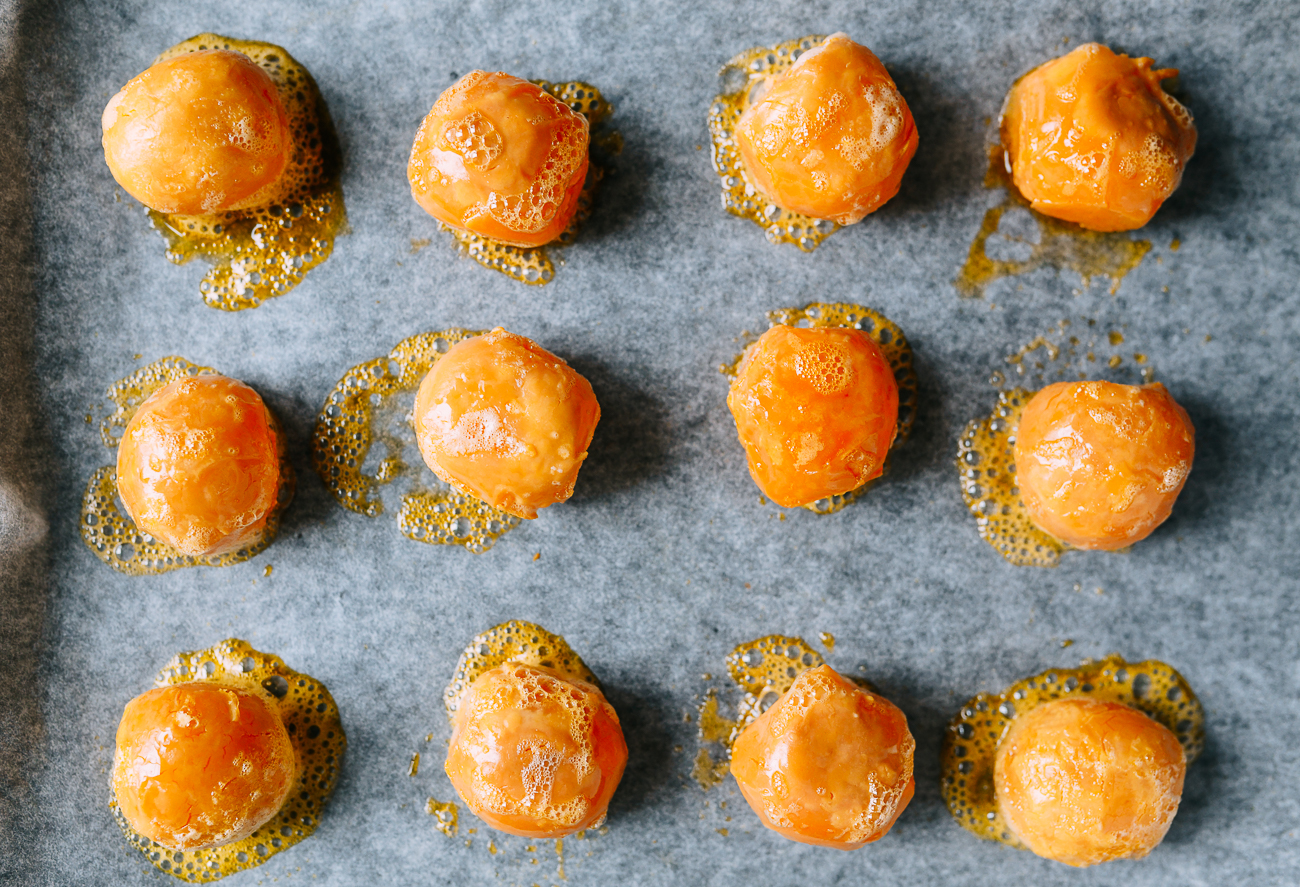 Baked salted duck egg yolks on parchment paper