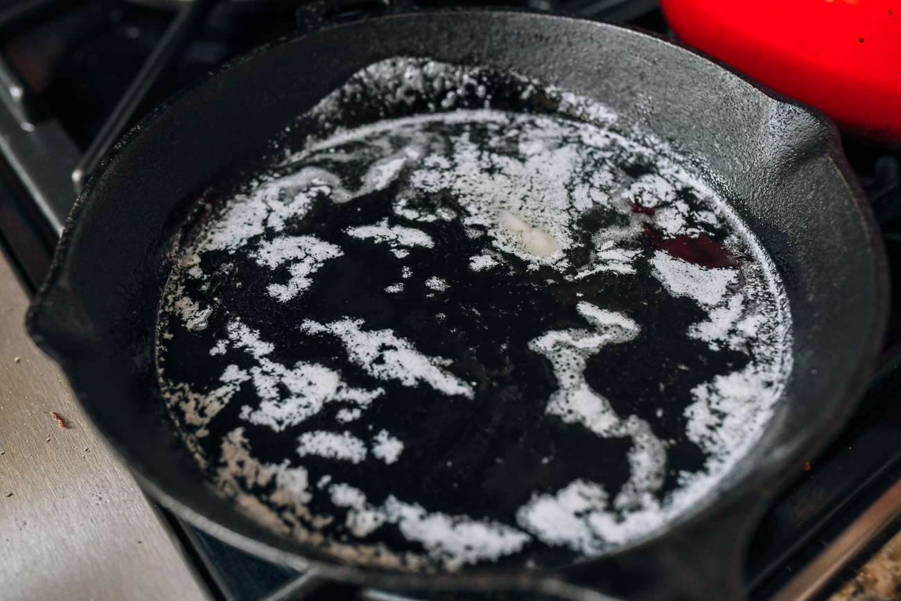 Oil and butter in cast iron frying pan