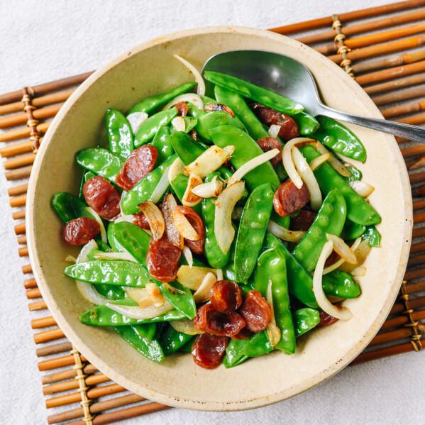 Snow Peas with Chinese Sausage