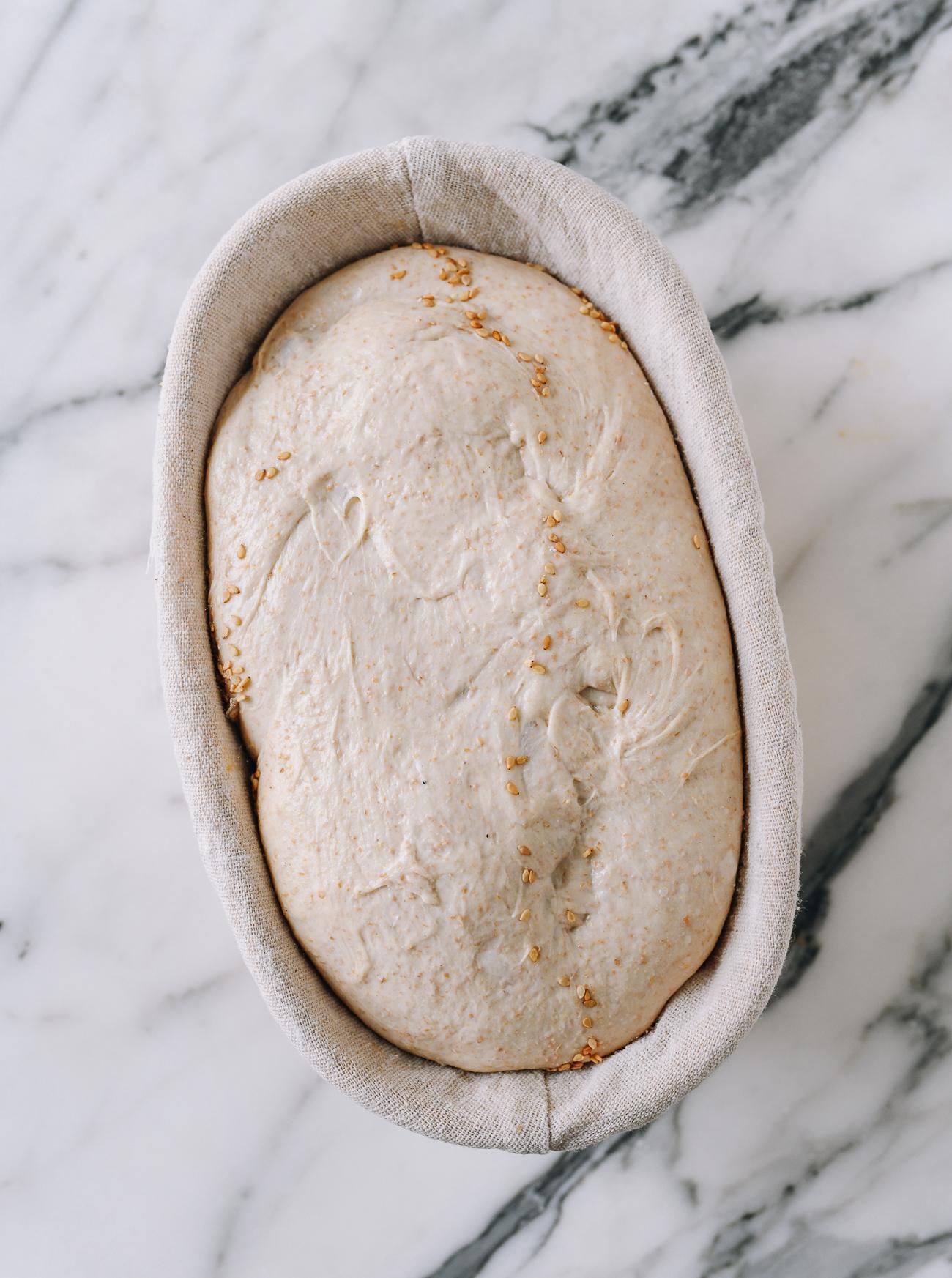 Sourdough in banneton after bulk fermentation