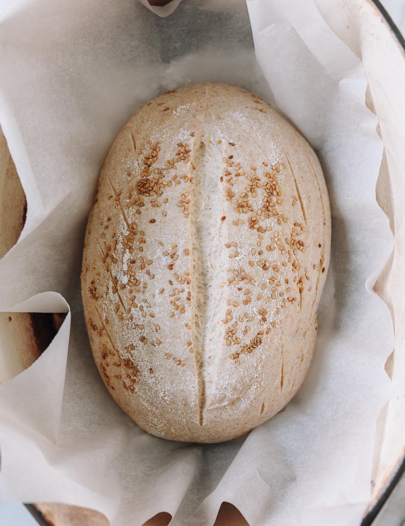Loaf sitting in hot Dutch oven