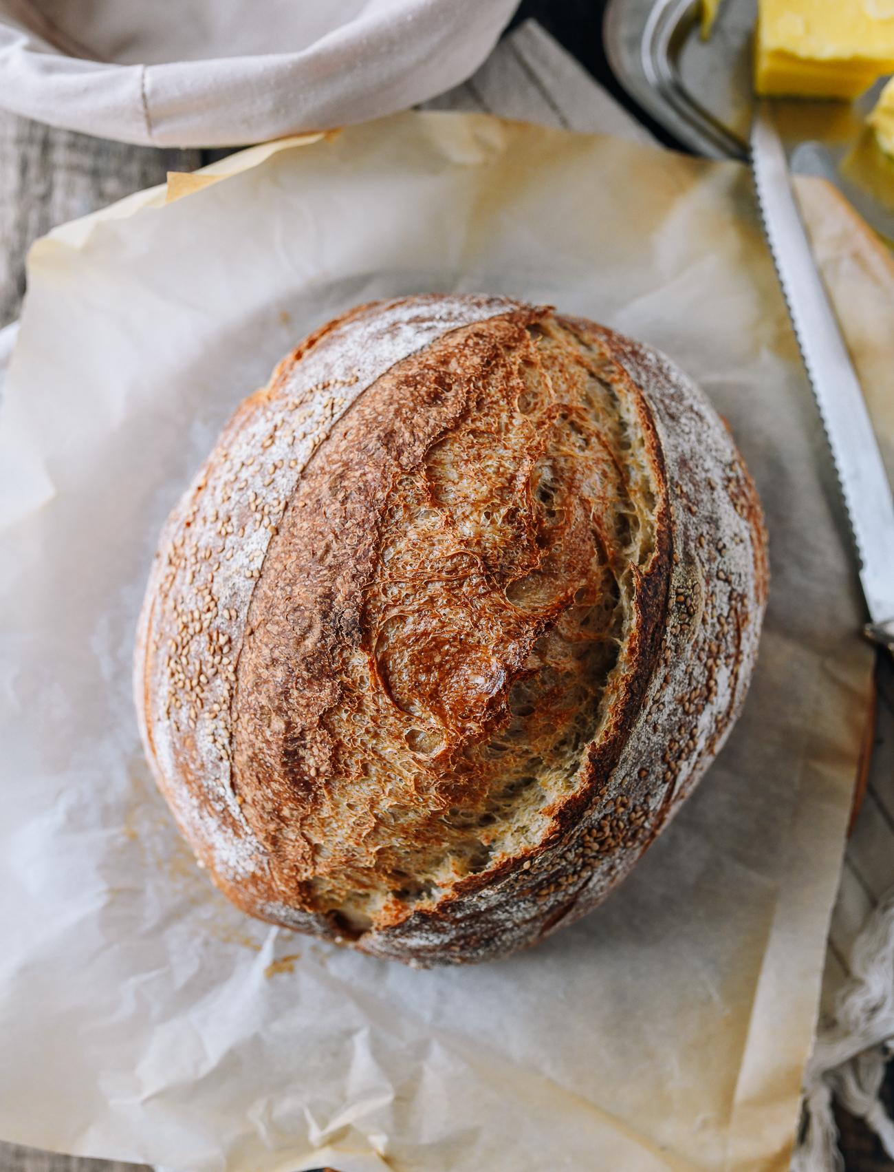 Sourdough loaf on cutting board