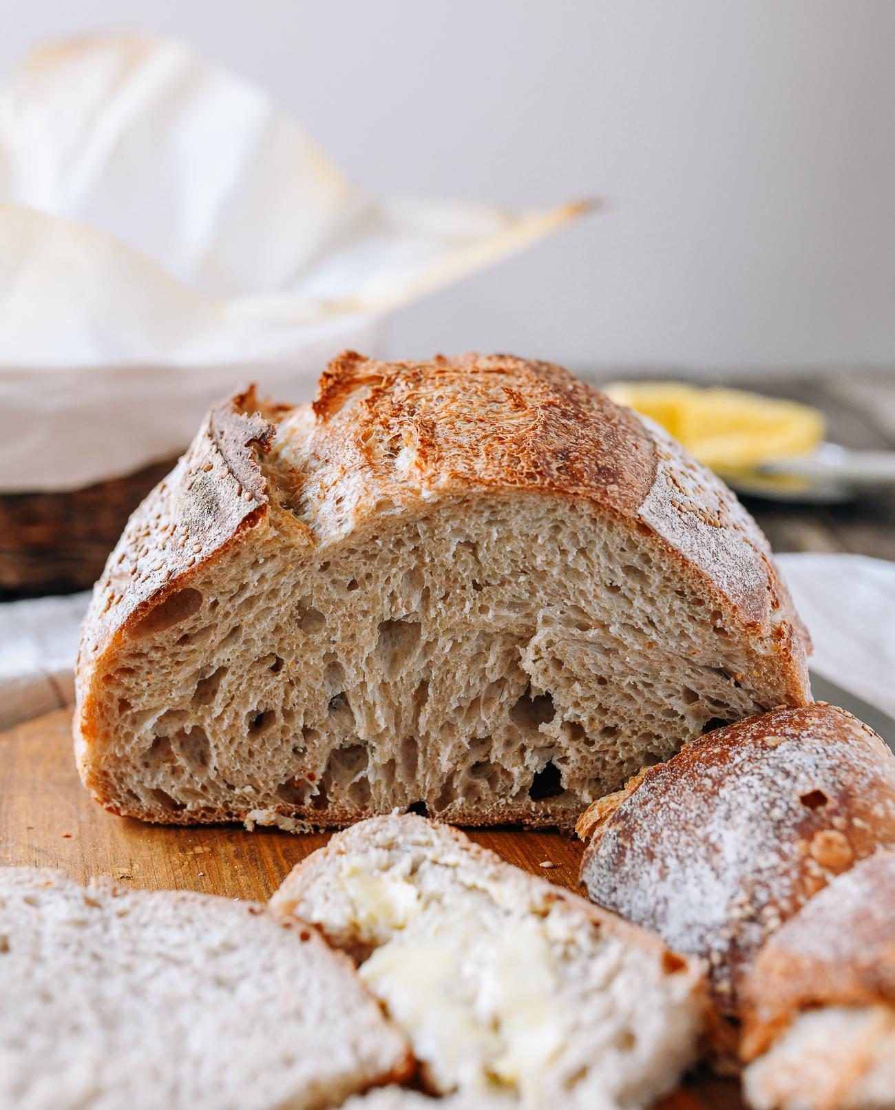Sourdough bread loaf cross-section