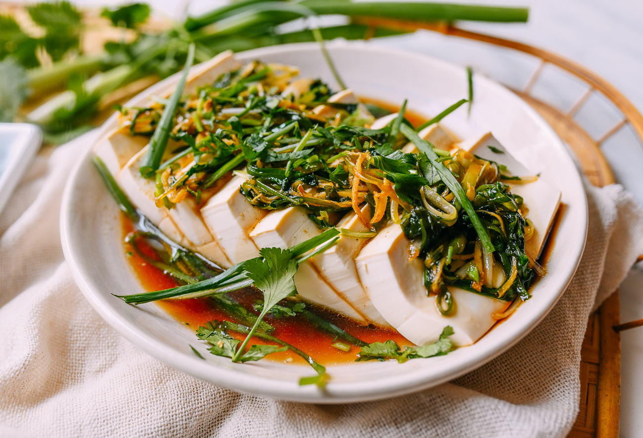 Steamed Tofu with Ginger and Scallions