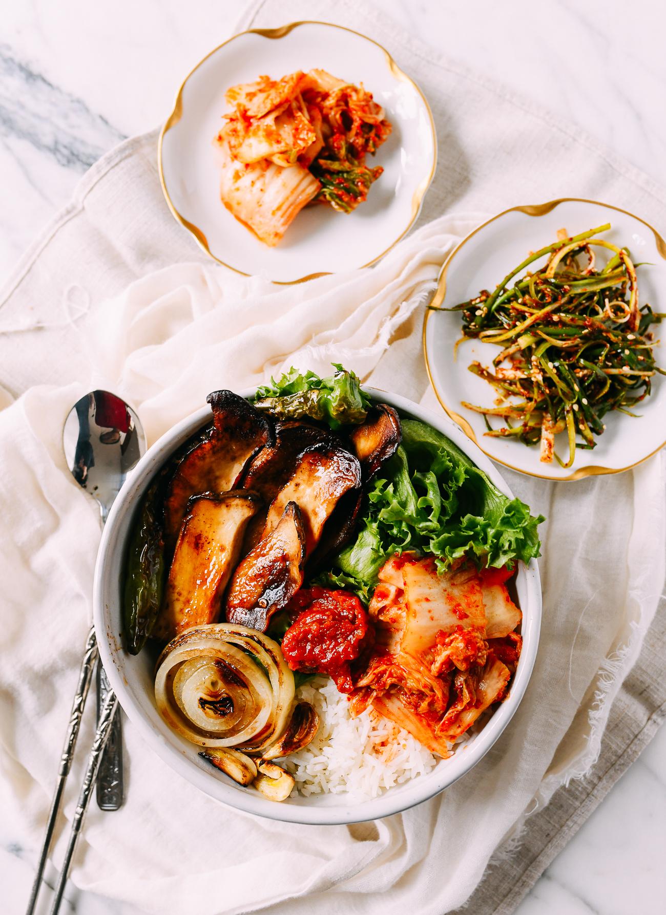 Vegan Korean BBQ Bowl with King Oyster Mushrooms