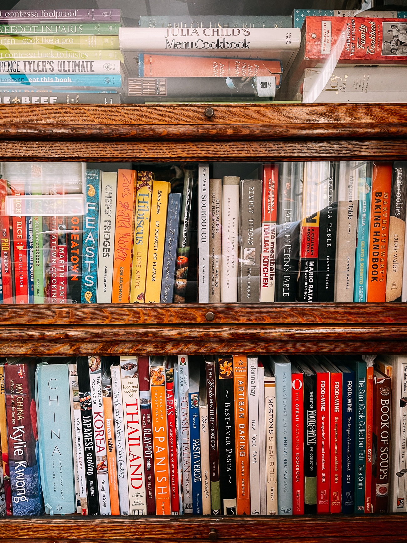 Cookbooks in lawyer's bookcase