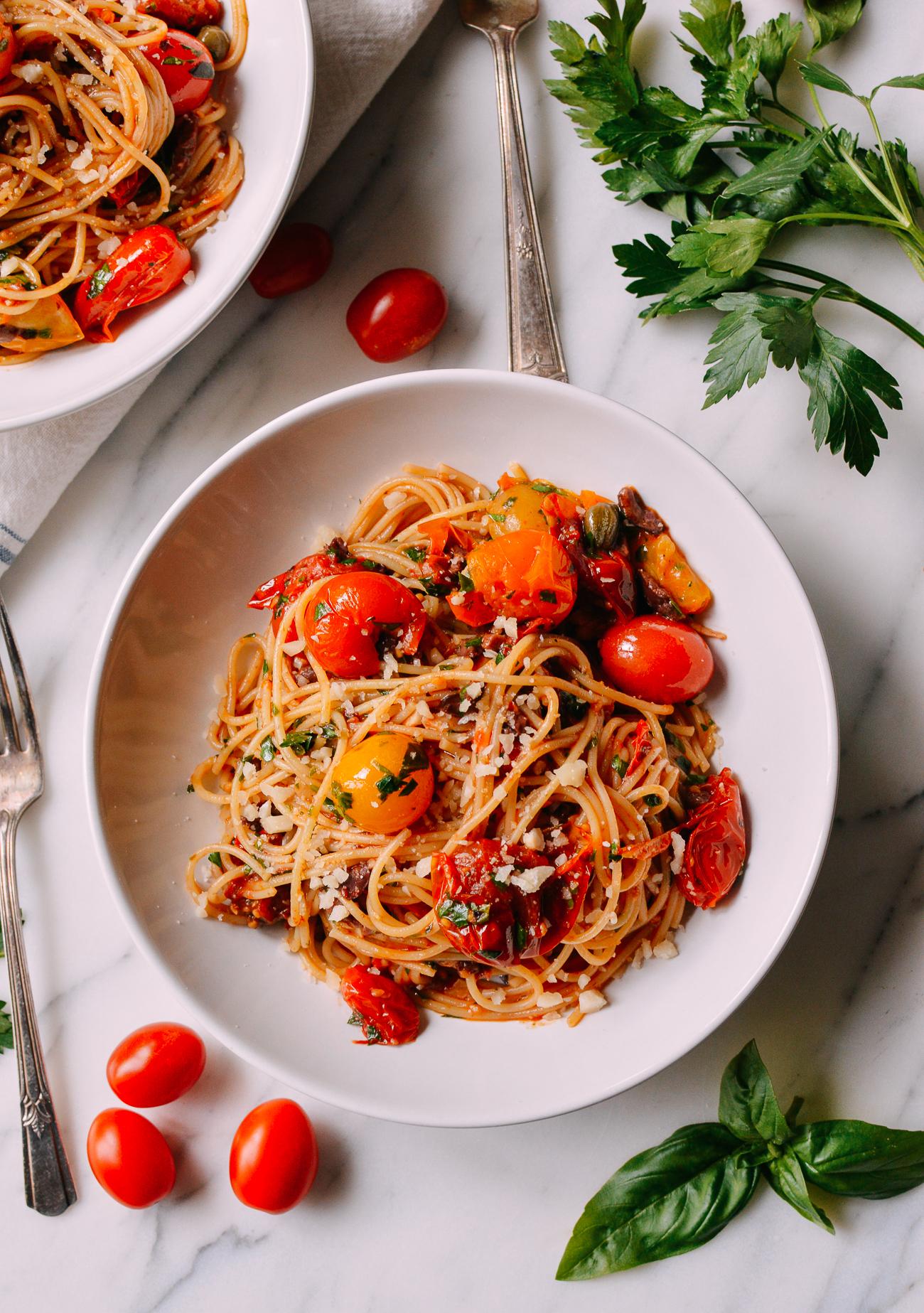 Summer Pasta Recipe - Cherry Tomato Puttanesca