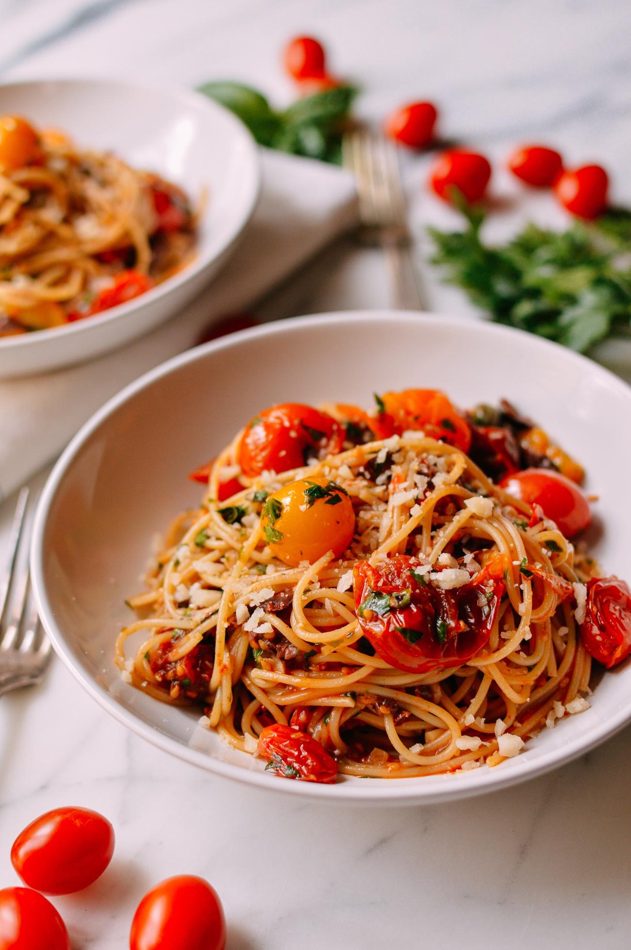 Pasta Puttanesca with Roasted Tomatoes
