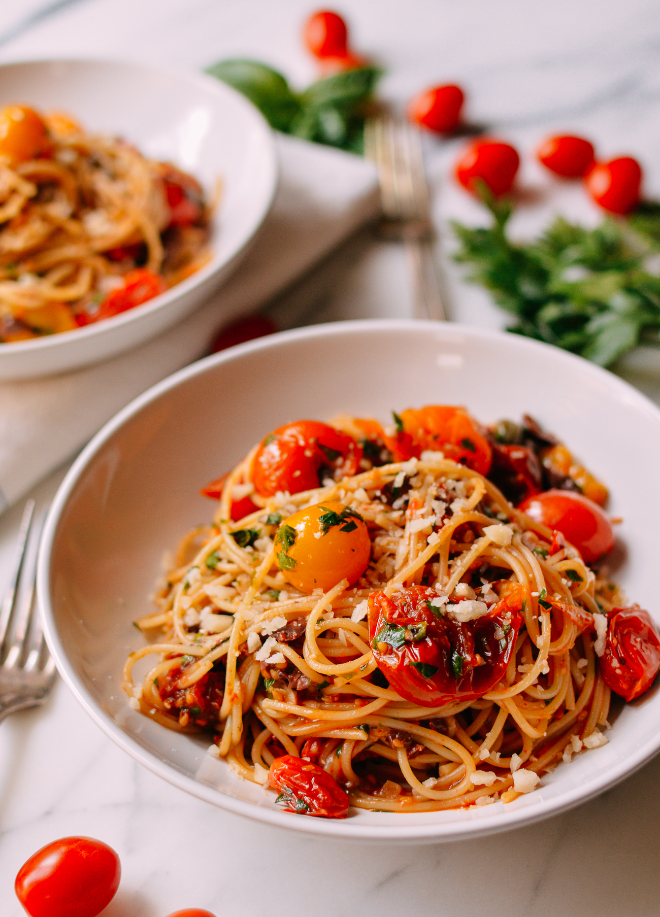 Bowl of Roasted Tomato Spaghetti Puttanesca
