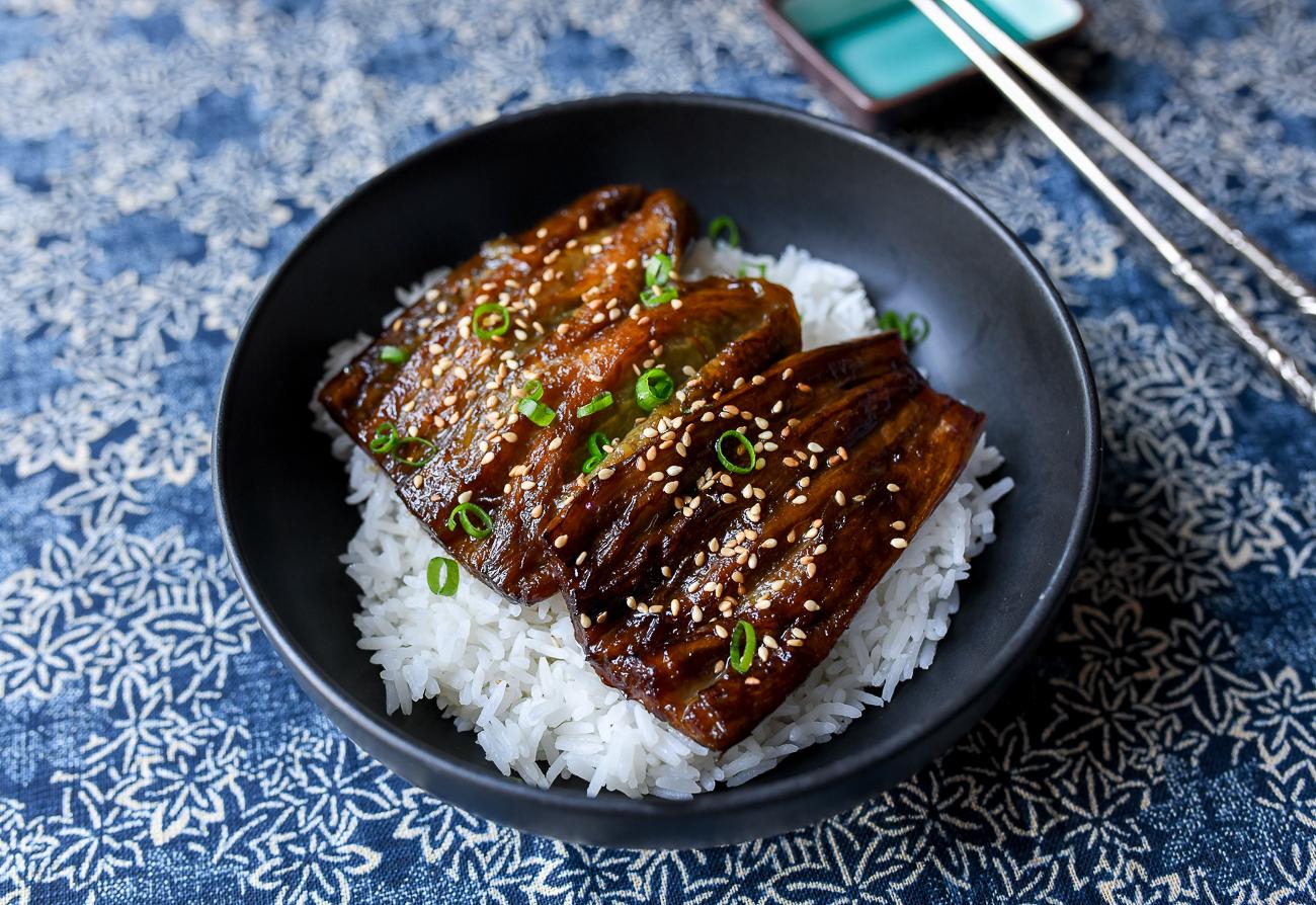Eggplant unagi over rice