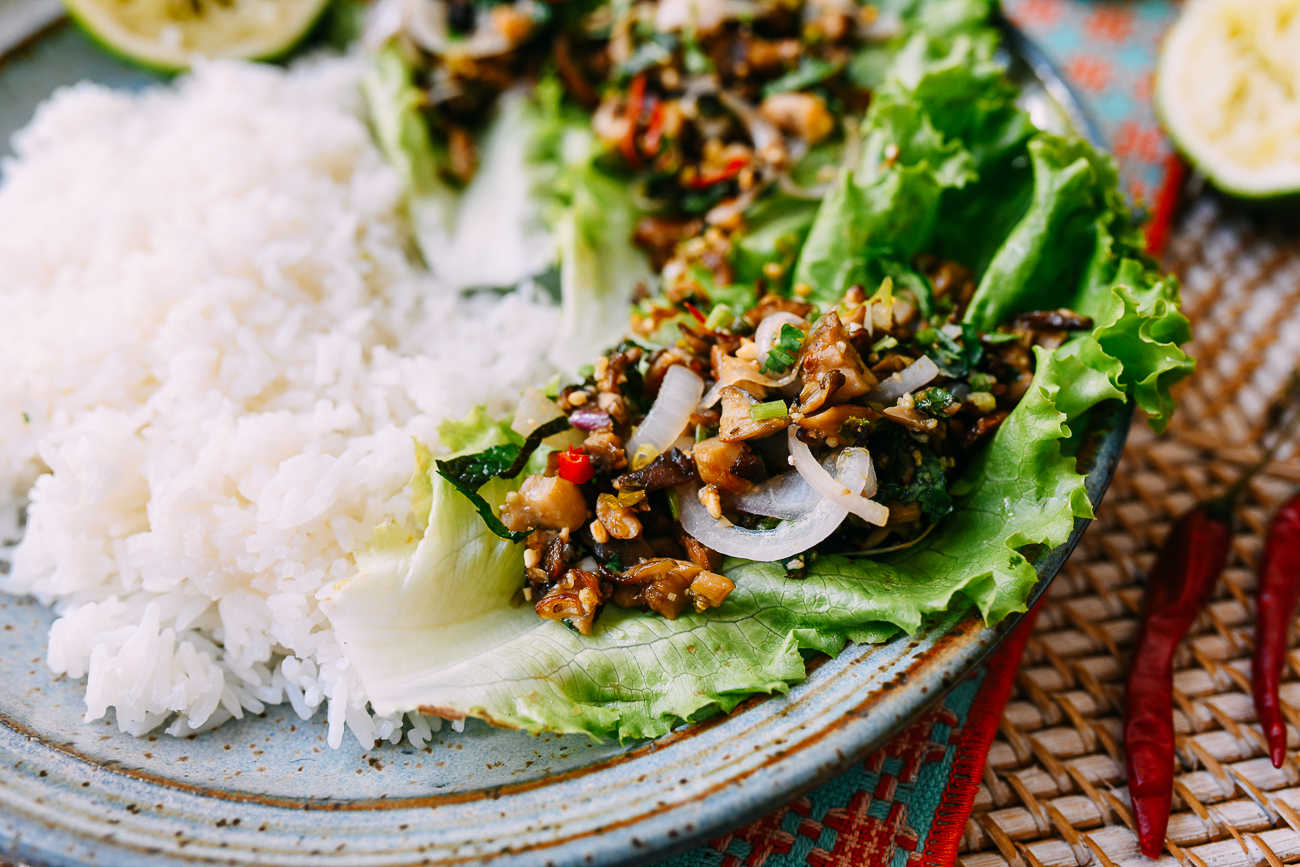Mushroom larb with lettuce and rice