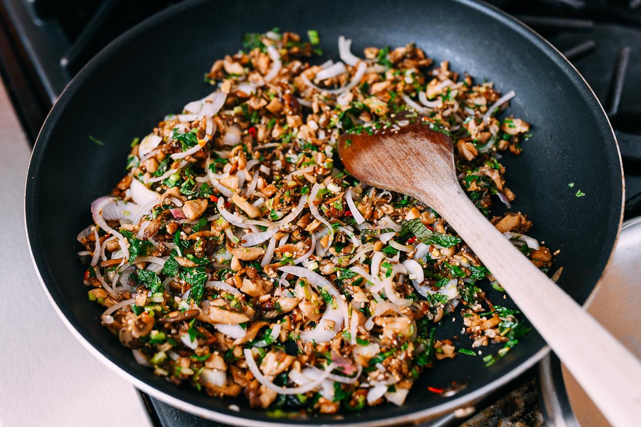 Mushroom larb in pan